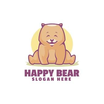 Logotipo de oso feliz aislado en blanco