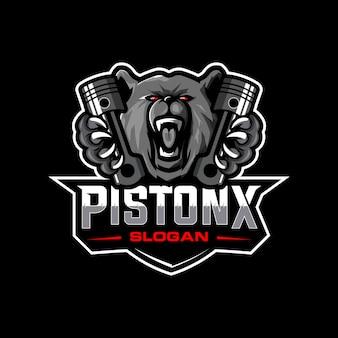 Logotipo de oso y pistón
