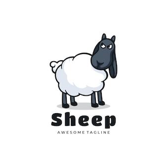 Logotipo de oveja simple estilo de mascota.