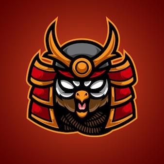 Logotipo de owl samurai e sport