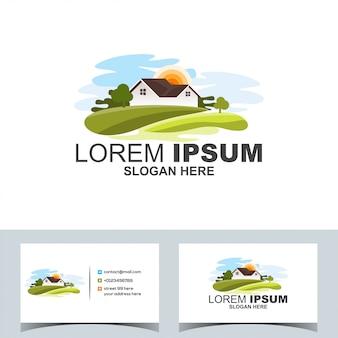 Logotipo del paisaje moderno pueblo verde