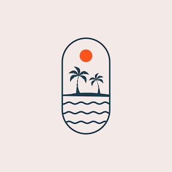 Logotipo de paisaje de playa
