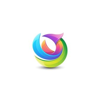 Logotipo de pájaro colorido abstracto