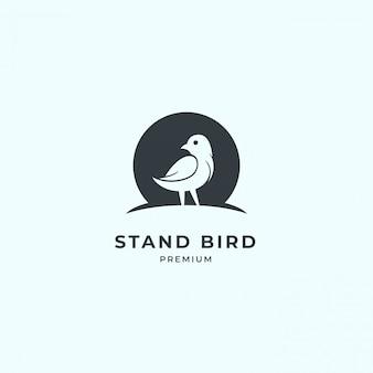 Logotipo de pájaro con espacio negativo.