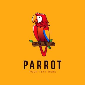 Logotipo de pájaro de ilustración de mascota de loro