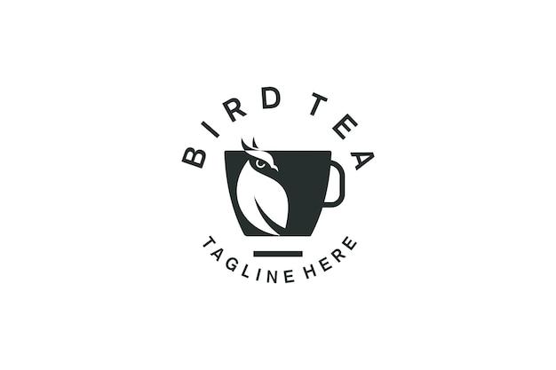 Logotipo pájaro paloma alas águila jaula de plumas té café