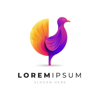 Logotipo de pájaro de pollo abstracto colorido