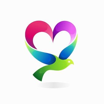 Logotipo de pájaro volador con concepto de amor