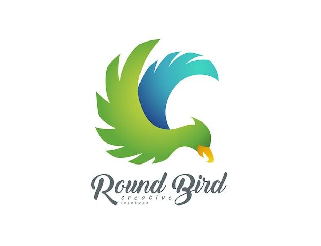 Logotipo de pájaro volador redondo