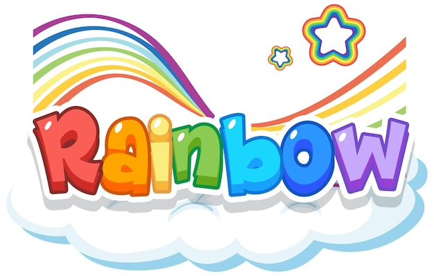 Logotipo de la palabra arco iris en la nube