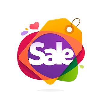 Logotipo de la palabra venta con etiqueta de venta.