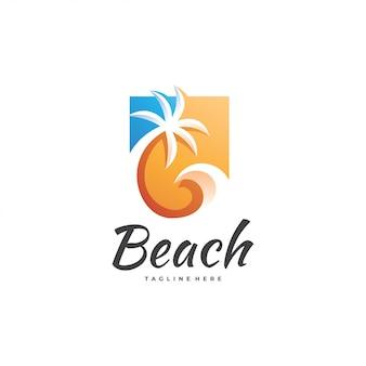 Logotipo de la palmera de la ola de agua