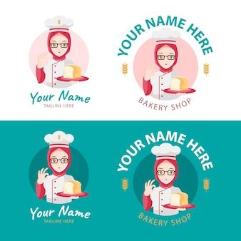 Logotipo de panadería con chef hijab como mascota