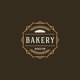 Logotipo de panadería o insignia vintage vector ilustración pan silueta para panadería