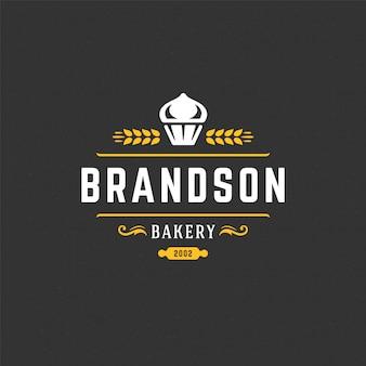 Logotipo de panadería o insignia vintage vector ilustración silueta de cupcake para panadería