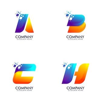 Logotipo de paquete abstracto carta