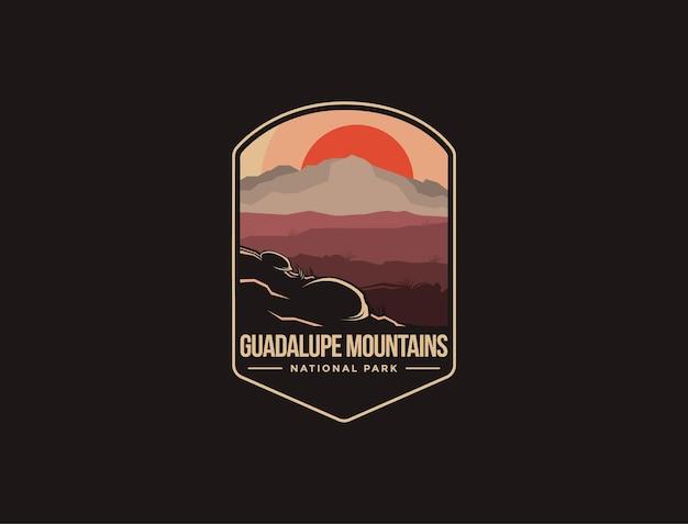 Logotipo del parche del emblema del parque nacional de las montañas de guadalupe