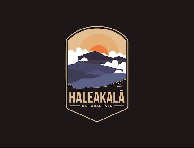 Logotipo del parche del emblema del parque nacional de las montañas haleakala