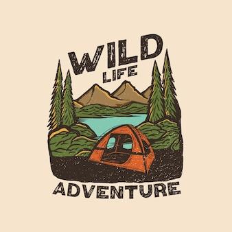 Logotipo de parche vintage de aventura de vida salvaje