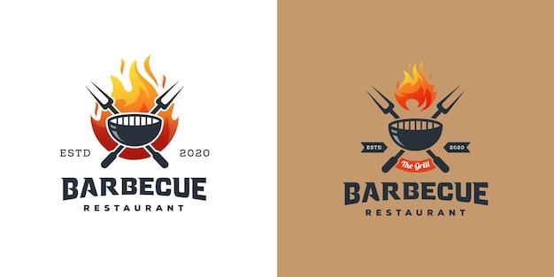 Logotipo de parrilla de barbacoa