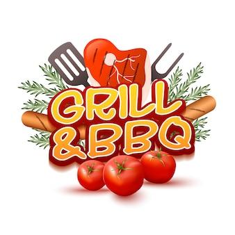 Logotipo de parrilla y barbacoa