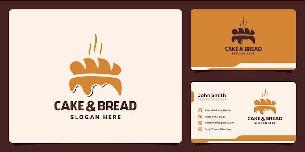 Logotipo de pastel y pan combinado con plantilla de tarjeta de visita