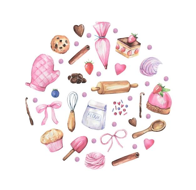 Logotipo de pastelería dibujado a mano en acuarela.