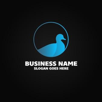 Logotipo con un pato azul