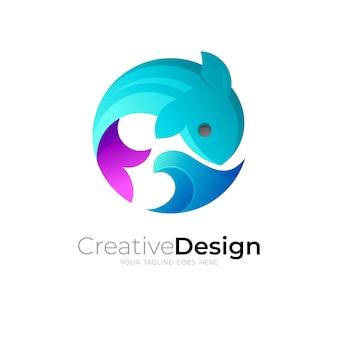 Logotipo de peces con plantilla de diseño de círculo, iconos de olas y peces