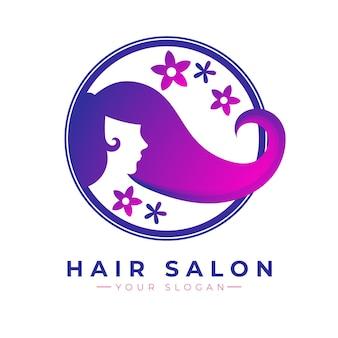 Logotipo de peluquería estilo degradado