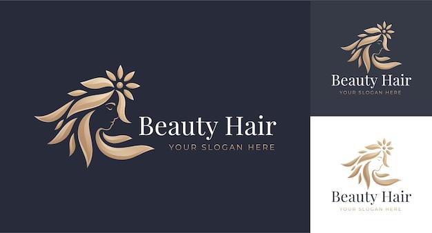 Logotipo de peluquería de mujer de lujo