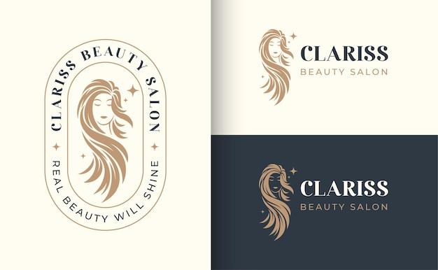 Logotipo de peluquería de mujer