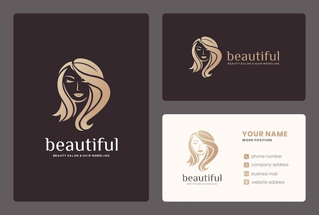 Logotipo de peluquería / salón de belleza con tarjeta de visita.