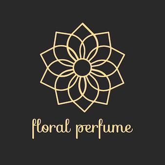 Logotipo de perfume floral de diseño de lujo