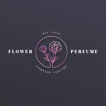 Logotipo de perfume floral de estilo lujoso