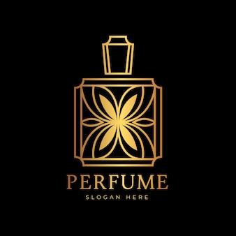 Logotipo de perfume de lujo y diseño dorado
