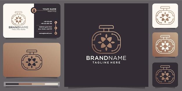 Logotipo de perfume de lujo minimalista con plantilla de tarjeta de visita