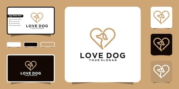 Logotipo de perro de amor con estilo de arte lineal, tarjeta de visita inspirada