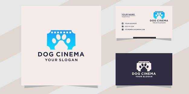 Logotipo de perro de cine y plantilla de tarjeta de visita.