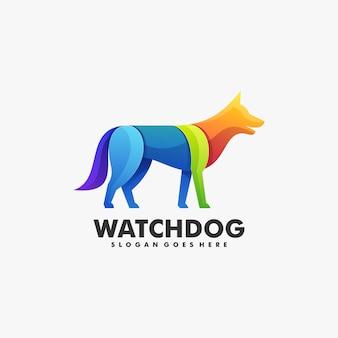 Logotipo perro gradiente estilo colorido