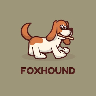 Logotipo de perro hound simple mascot style.