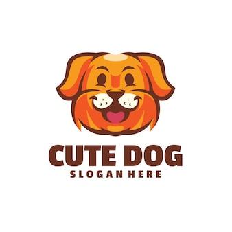 Logotipo de perro lindo aislado en blanco
