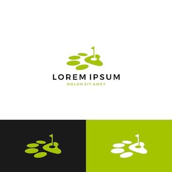 Logotipo de perro pata golf