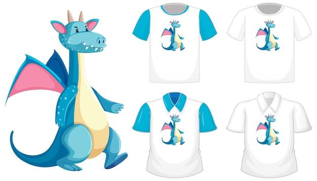 Logotipo de personaje de dibujos animados de dragón en diferente camisa blanca con mangas cortas azules aisladas sobre fondo blanco