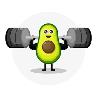 Logotipo de personaje lindo de aguacate fitness