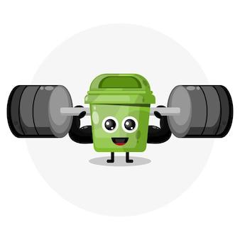 Logotipo de personaje lindo de caja de basura de fitness