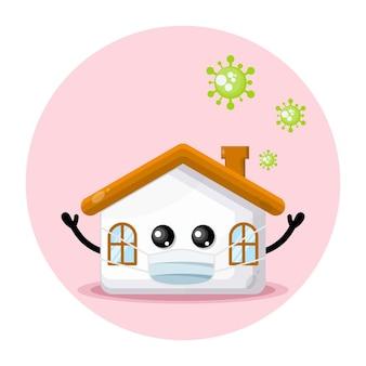 Logotipo de personaje lindo de la casa de la máscara de virus
