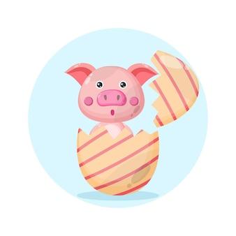 Logotipo de personaje lindo de cerdo de huevo de pascua