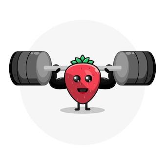 Logotipo de personaje lindo de fitness de fresa
