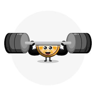 Logotipo de personaje lindo fitness naranja